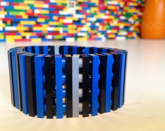 Handmade Blue Black Grey MonkiStuff Bracelet made using LEGO® Pieces