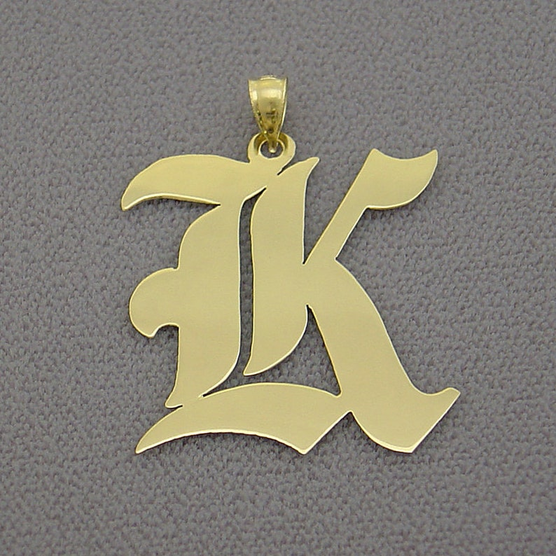 Solid 10k Gold Old English Initial Pendant 1.25 Inches Tall.