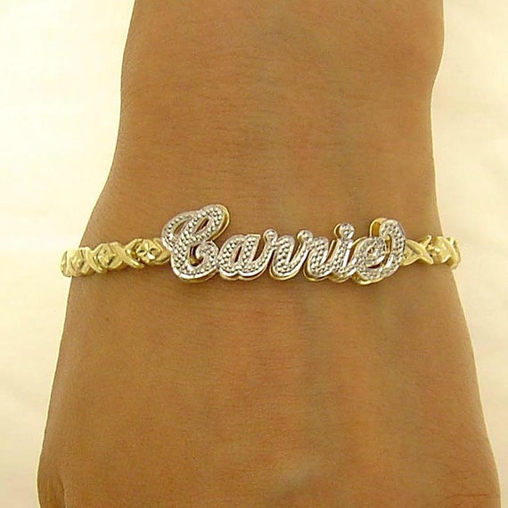 10k Gold Personalized Name Xo Bracelet Diamond Accent 3d