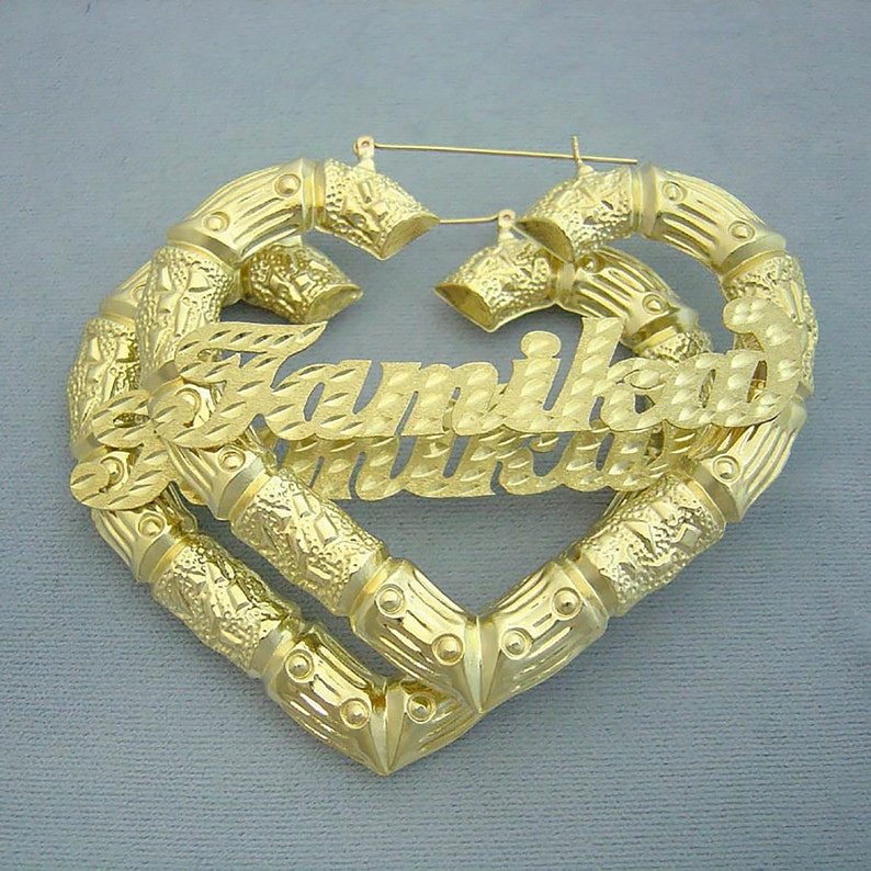 62c800595 Large Personalized Name Puffy Heart Hollow Bamboo Earrings 10K   Etsy