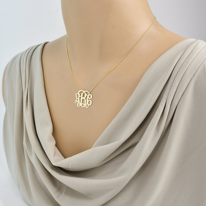10k or 14k Solid Gold 3 Initials Monogram Necklace 1 Inch Fine Personalized Jewelry GM31C