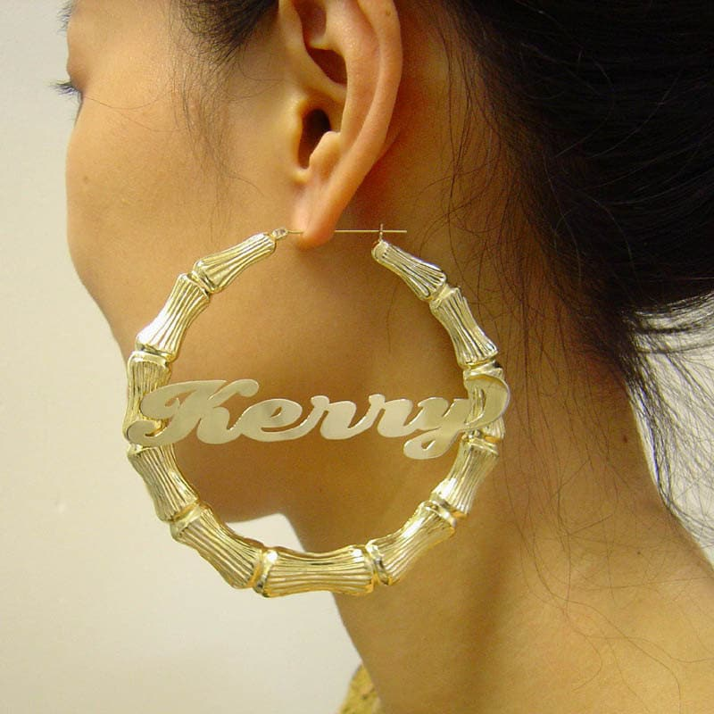 b1f83611b Extra Large 10K Yellow Gold Personalized Diamond Cut Name Hollow Round Bamboo  Earrings 3 3/8 Inches GB_17NC