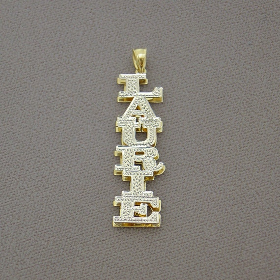 Personalized 10K or 14K Gold Personalized 3D Double Star Name Pendant Necklace Charm Jewelry ND43