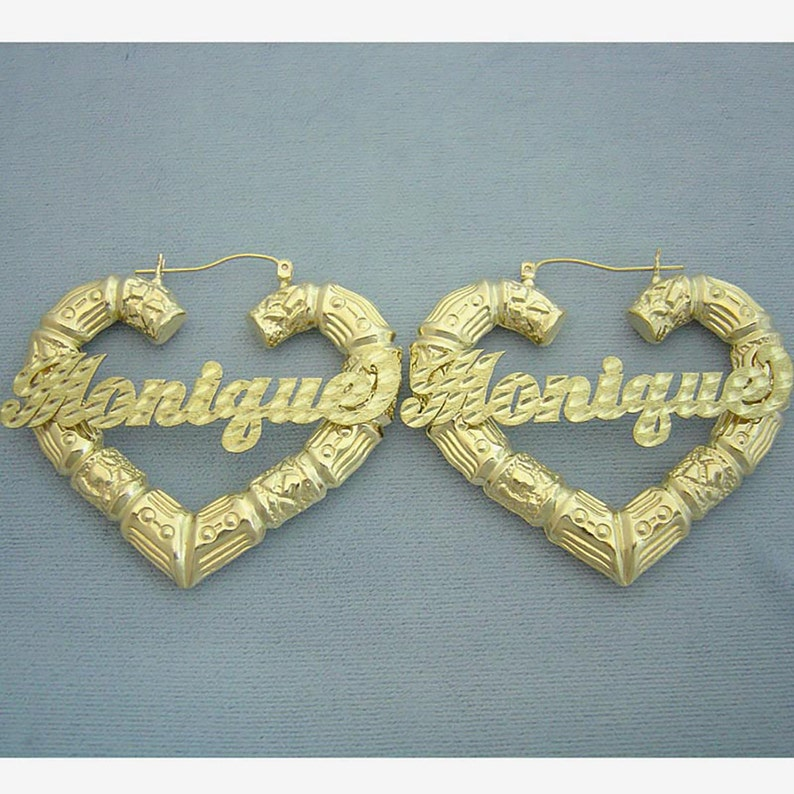 67c64fb2a Personalized Name Puffy Heart Bamboo Earrings 10K Yellow Gold   Etsy