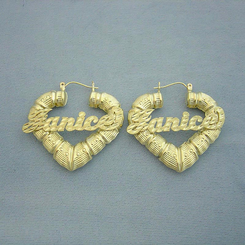 432491a91 10K Gold Personalized Name Puffy Heart Bamboo Hollow Earrings   Etsy