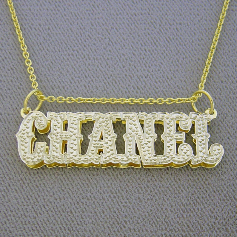 a5bb92641abd 3D Double Plates Iced Out Name Pendant Solid 10K or 14K Gold