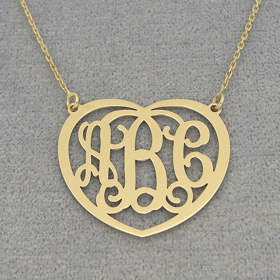 d4528e46c3056b 10kt or 14kt Solid Gold 3 Initials Heart Monogram Necklace 1   Etsy