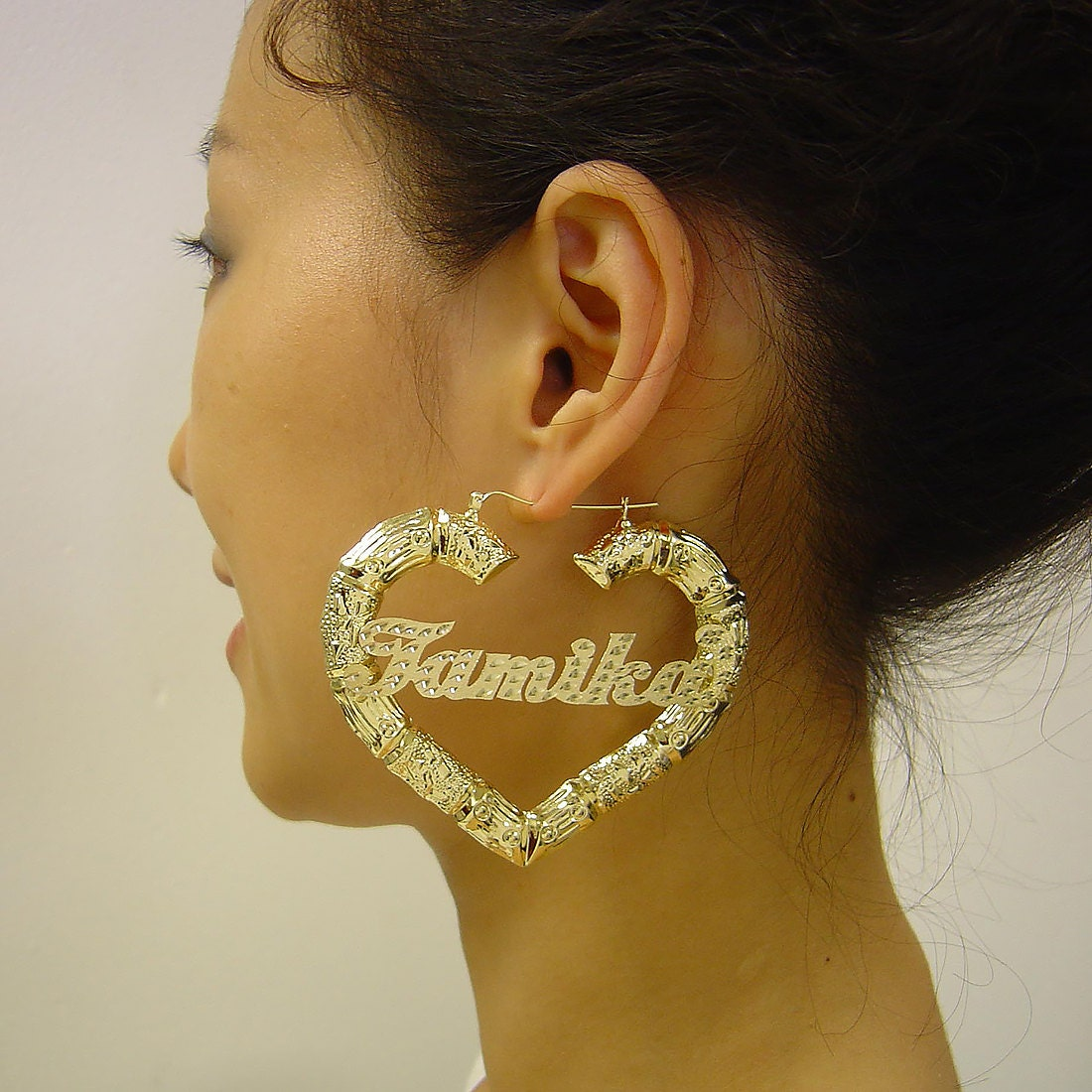 1725f7dd2 Large Personalized Name Puffy Heart Hollow Bamboo Earrings 10K Yellow Gold  3 Inches GB46NC