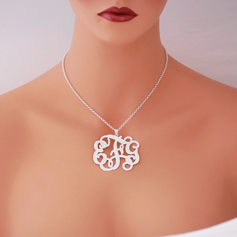 Solid Sterling Silver 3 Initials Monogram Pendant Necklace Jewelry 2 18 inch SM35