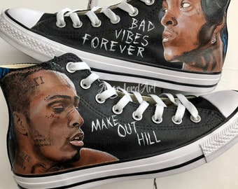 4ca61483bc9a Custom Painted XXXTentacion Tribute inspired Converse Hi Tops Vans shoes  sneakers. Custom shoes