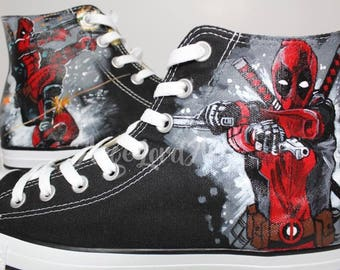 Custom Painted Deadpool inspired Converse Hi Tops shoes Sneakers 7275cbe80e
