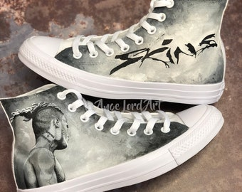 cddc222f6329 Custom Painted XXXTentacion Skins Tribute inspired Converse Hi Tops Vans  shoes sneakers  Advance order for painting from July 2019 onwards