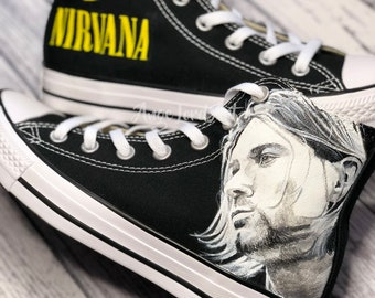 c589304ad58a Custom Painted Kurt Cobain Nirvana inspired Converse Hi Tops   Vans custom  shoes sneakers   Advance order for painting from July 2019 on