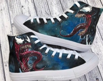 17f0e61c0c1d Custom Painted Marvel Venom inspired Converse Hi Tops   Vans shoes sneakers.Custom  shoes  Advance order for painting from July 2019 onwards
