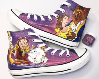 d8113e7bf2df Disney inspired Fairytale Princess Beauty   The Beast Hand Painted Converse  Hi Tops shoes sneakers  Advance order from June 2019 onwards