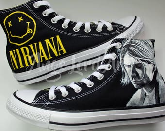 95db4000e189 Custom Painted Nirvana Kurt Cobain Inspired Converse Hi Tops shoes sneakers    Advance order for painting from July 2019 onwards