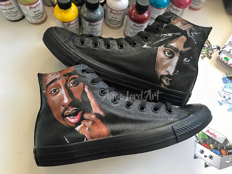 63eaffe96a4363 Custom Painted 2Pac Tupac inspired Converse Hi Tops. Available