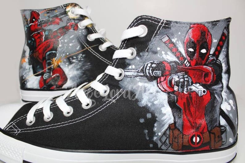 364f87af7fc Custom Painted Deadpool inspired Converse Hi Tops shoes