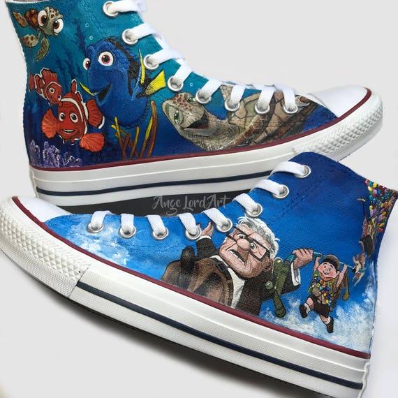 ce665208adb0 Disneys Up And Nemo inspired painted Converse Hi Tops Vans