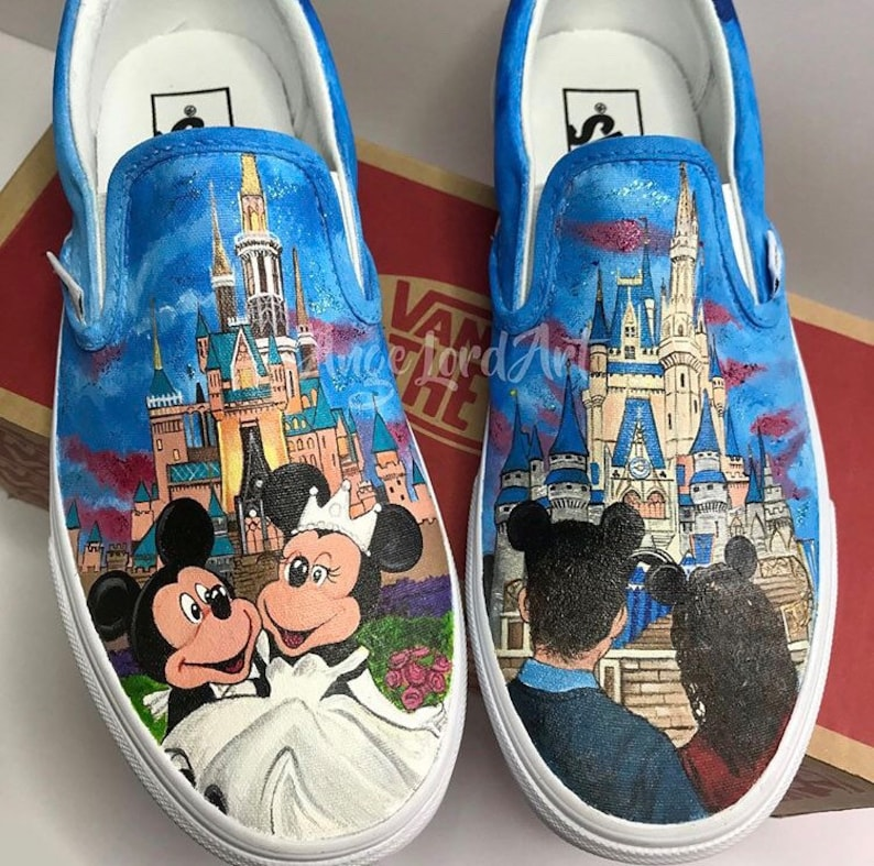 3094df497f26c1 Handpainted Disney inspired bridal   wedding party Converse
