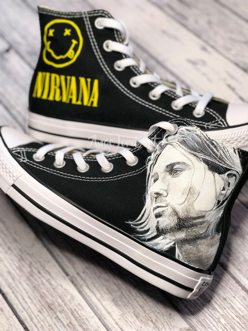 4084b40595c Custom Painted Kurt Cobain Nirvana inspired Converse Hi Tops