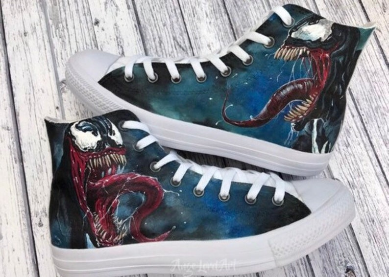 eb124a4d0b Custom Painted Marvel Venom inspired Converse Hi Tops   Vans