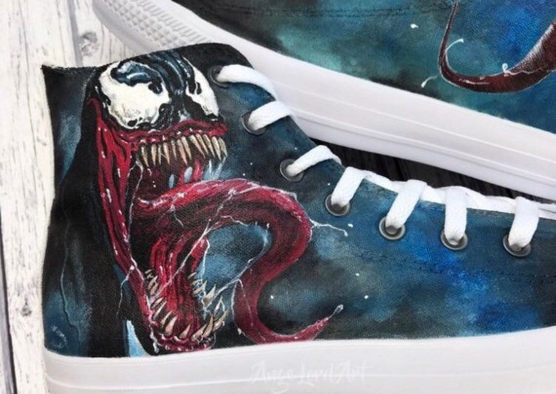 c72251ac59e62a Custom Painted Marvel Venom inspired Converse Hi Tops   Vans