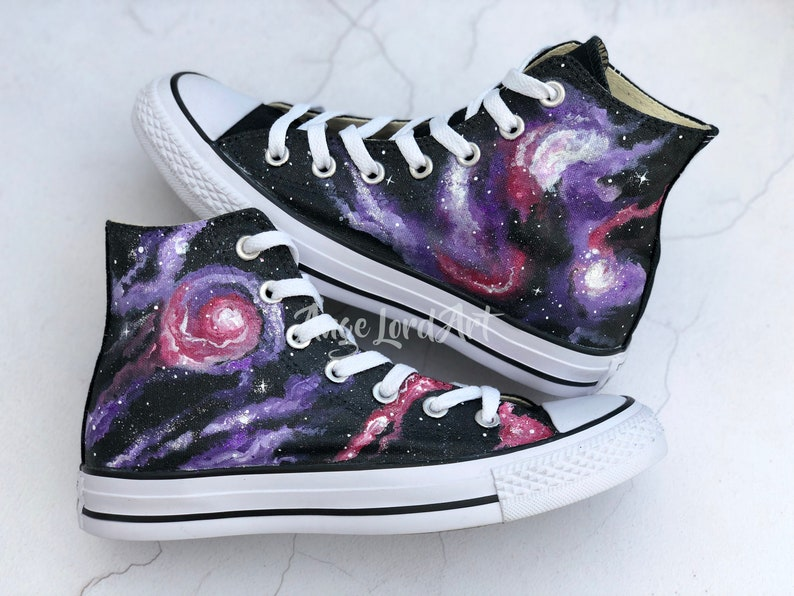 01f9b4abd92a Custom Painted Glitter Galaxy Converse Hi Tops shoes sneakers.