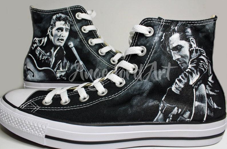 8085ef3c91a7 Personalizzato dipinto Elvis Presley il re ispirato CONVERSE