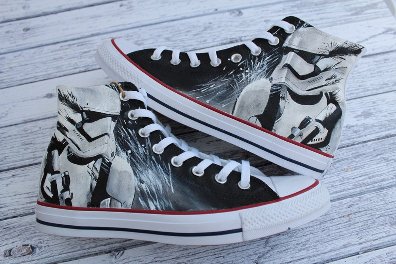 b1d120314a1b Custom Painted Star Wars Stormtrooper inspired Converse Hi