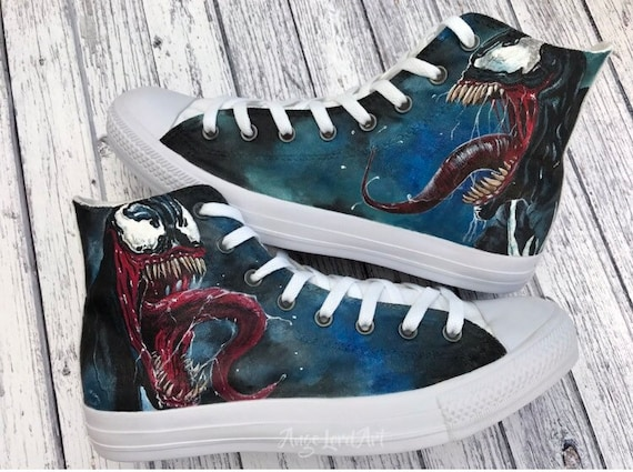 Custom Painted Marvel Venom inspired Converse Hi Tops shoes sneakers. Ready for immidiate shipping in a UKUS mens size 11