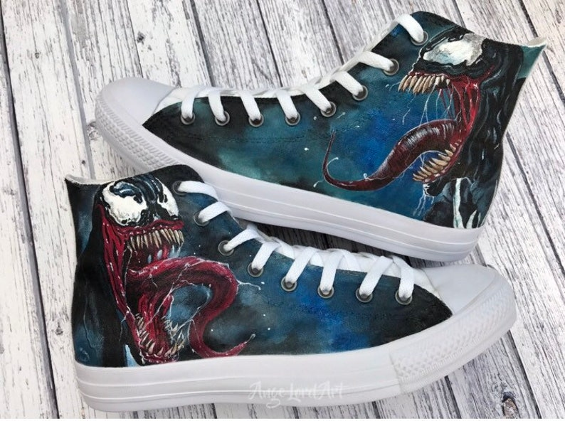 ce4a852e6cf0fd Custom Painted Marvel Venom inspired Converse Hi Tops shoes