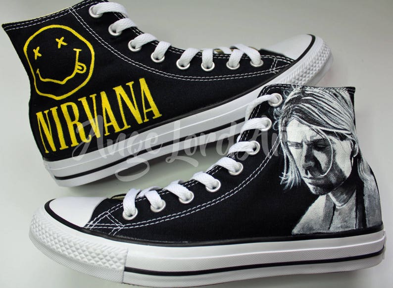 5085e1c4cd6f Custom Painted Nirvana Kurt Cobain Inspired Converse Hi Tops