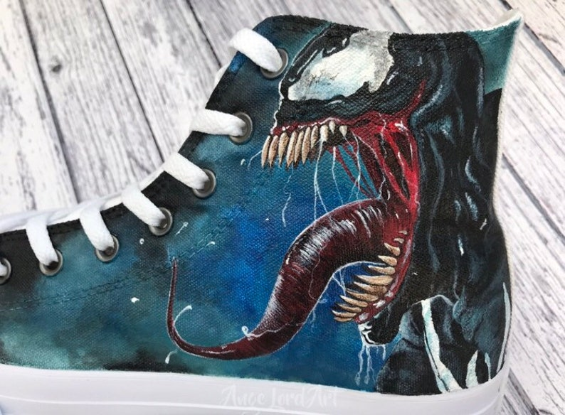 a19eeb6ad87a Custom Painted Marvel Venom inspired Converse Hi Tops shoes