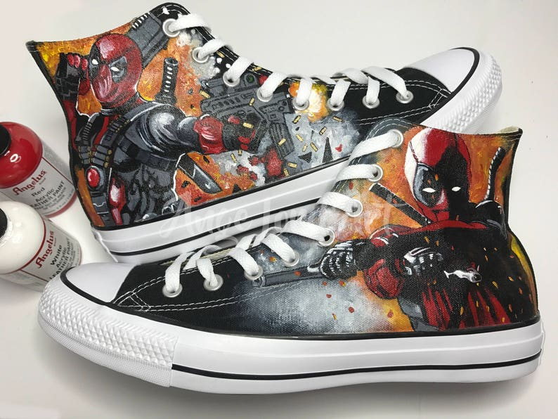 147b6cc9dc20 Custom Painted Deadpool inspired Converse Hi Tops shoes