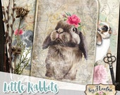 LITTLE RABBITS printable bunnies cards 6 x 4 inch digital sheet ephemera vintage scrapbook instant download pp522