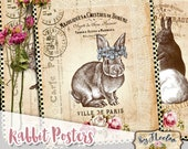 RABBIT POSTER vintage 8.5x11 inch wall decor journal background scrapbook instant download printable pp449