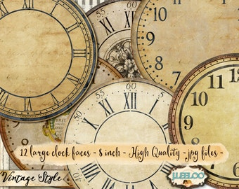 vintage clock 3 inch 35 inch circle printable clock faces etsy