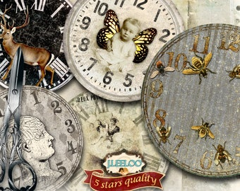 ECLECTIC CLOCK FACE 8 inch circle - vintage dirty printable clipart vintage home decor diy paper tattered - digital collage - tn568