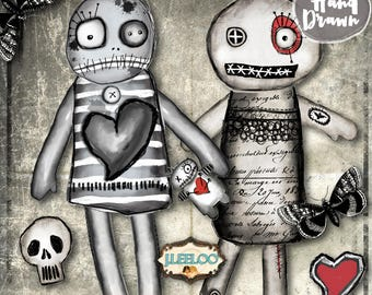 VOODOO PAPER DOLLS altered art hand-drawn Gothic scary Digital collage sheet scrapbook diary art instant download printable pp382