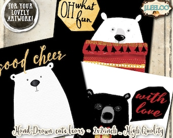 CUTE BEARS  hand painting clipart pet holidays 2x2 inch pendant magnet craft - christmas clipart watercolor download printable paper - qu492