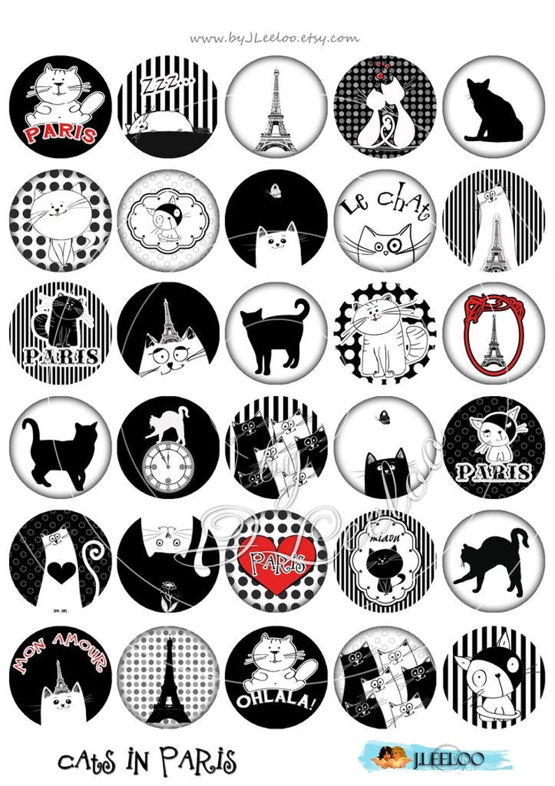 Digital collage sheet CATS IN PARIS 1.5 inch circle hang tags hand drawn images pendant magnet instant download printable image tn319