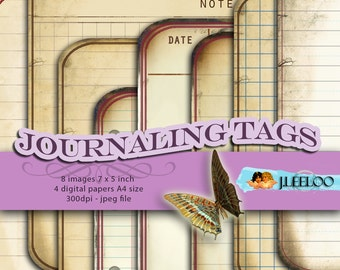 JOURNALING TAGS editable cards - vintage for scrapbook journal diary art altered instant download Digital collage sheet printable - pp136