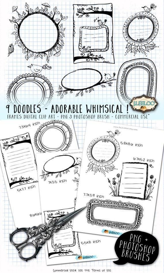 DOODLE FRAMES Digital Clip Art Printable adorable whimsical | Etsy