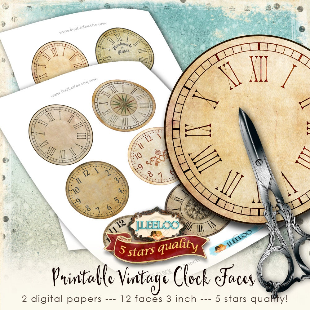 photograph relating to Printable Clock Faces for Crafts called Basic CLOCK 3 inch 3,5 inch circle printable clock faces grunge soiled antique for pendant magnet and craft instantaneous obtain do it yourself tn567