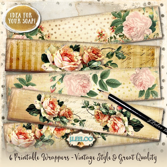 Wrapper Roses Printable Vintage Soap Wrap Bookmarks Digital Sheet Instant Download Shabby Chic Dots Stripes Background Papers Pp370