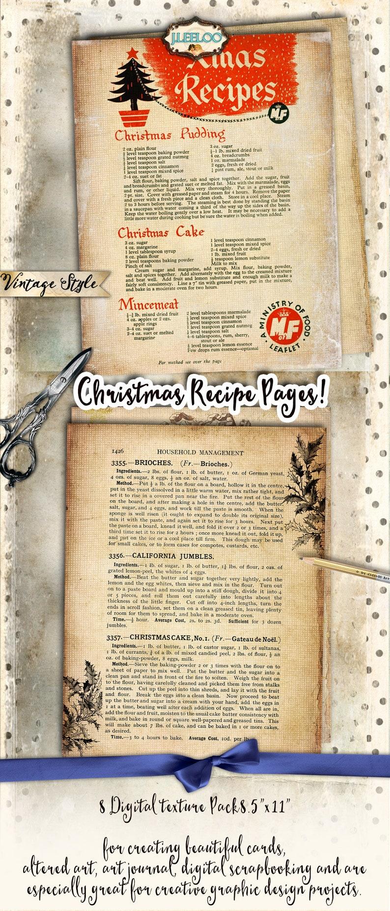 CHRISTMAS RECIPE 8 large vintage holidays food digital collage sheets papers for scrapbook jpg art instant download printable pp433