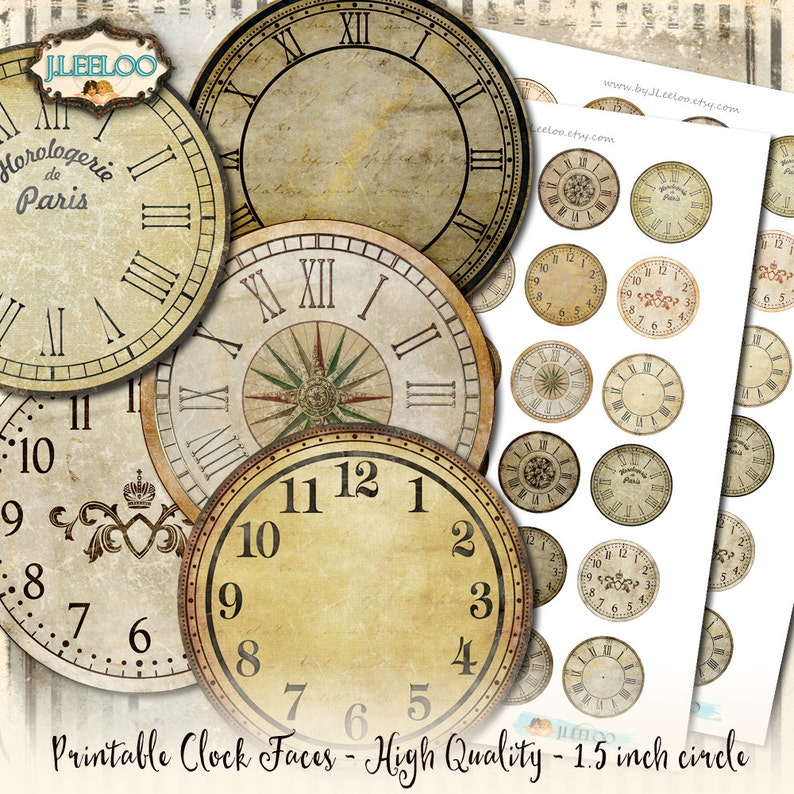 picture regarding Printable Clock Faces for Crafts referred to as Basic CLOCK 1.5 inch circle printable clock confront grunge soiled antique for pendant magnet and craft prompt down load do-it-yourself tn540