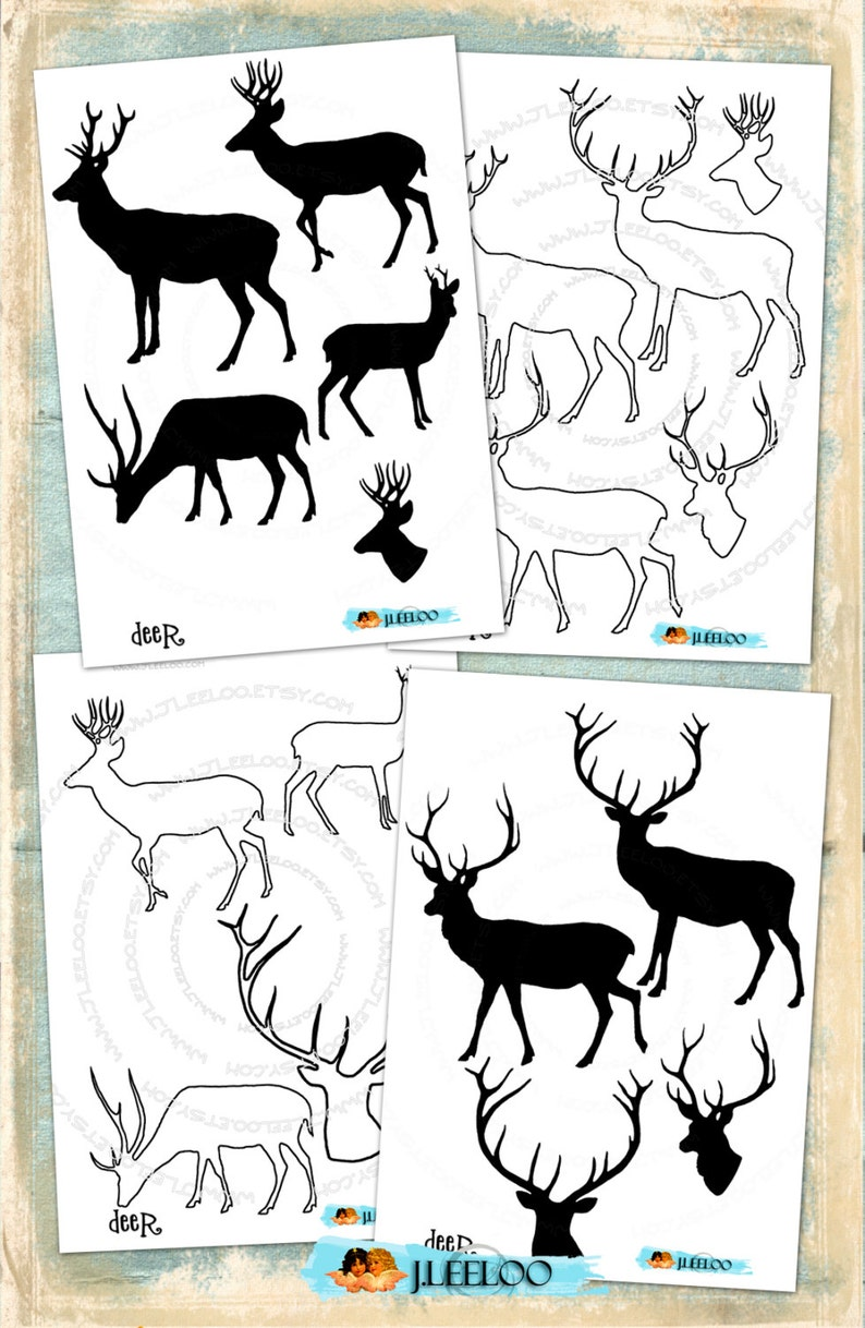 DEER cl107 Digital Clip Art silhouette outline Commercial Use PNG /& Photoshop Brush invitation scrapbook printable