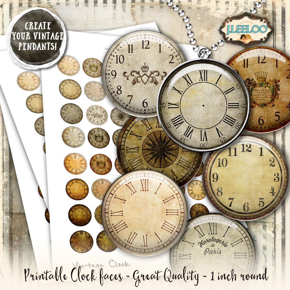 graphic regarding Printable Clock Faces for Crafts titled Classic CLOCK 1 inch circle clock encounter printable for pendant magnet and craft grunge soiled antique instantaneous obtain do-it-yourself tn541